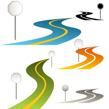 green street: Una imagen de un conjunto de se�ales de tr�fico a lo largo de un camino de curvas.