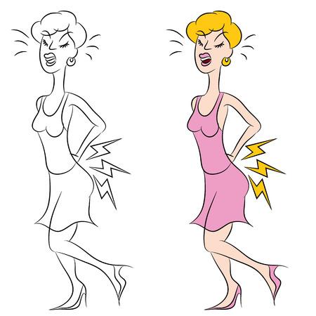 허리 통증을 가진 여자의 이미지. 일러스트