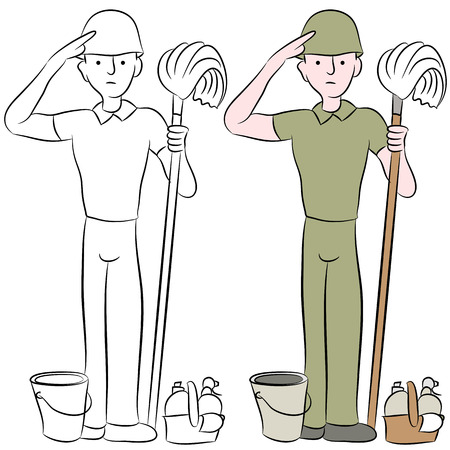 housecleaning: An image of a housecleaning army man saluting.