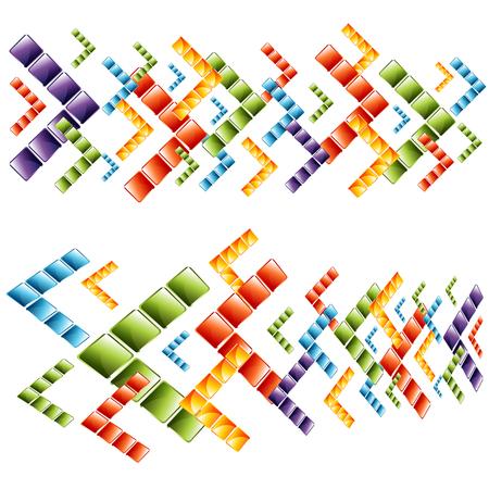 3 d glasses: An image of 3d transparent arrow cubes. Illustration