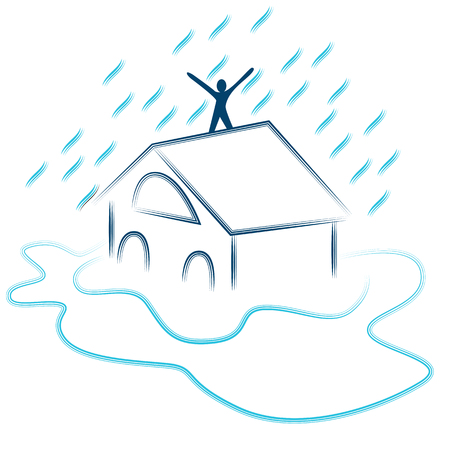 An image of a residential flash flood. Illustration