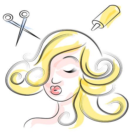 그녀의 머리를 자르고 염색 갖는 아름다운 여자의 이미지. 스톡 콘텐츠 - 22868436