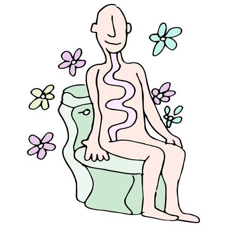 bowel: L'immagine di un uomo con un movimento intestinale sano su una toilette.