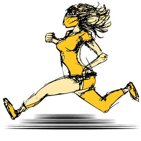 An image of a female runner. Vector