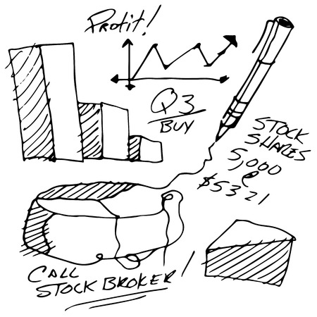 brokers: An image of stock market notes.