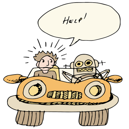 programmed: An image of a robotic self driving car.