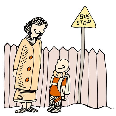 An image of a mother and child waiting at a bus stop. Ilustracja