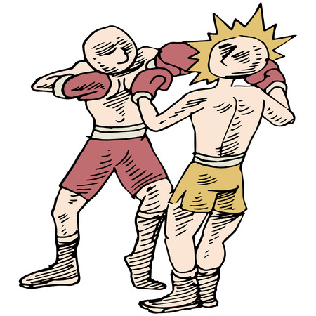 knock out: An image of two boxers fighting.