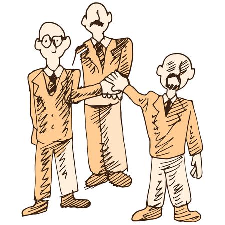 three men: An image of three men using teamwork. Illustration