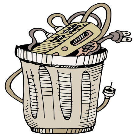 cable tv: An image of a cable television box in the trash. Illustration