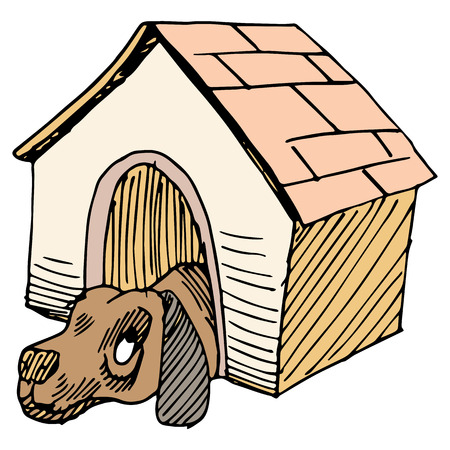 secluded: An image of a dog alone in a doghouse. Illustration