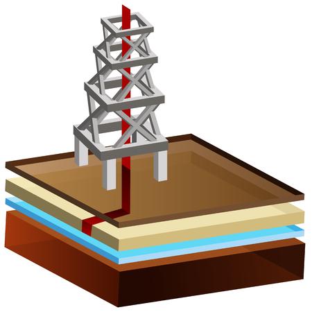 idraulico: L'immagine di un 3d fracking idraulico rig.