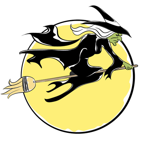 flying hat: An image of a witch flying on a broom.
