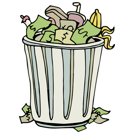 An image of a money thrown away in a trashcan. Stock Vector - 23104172