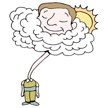 雲の中で彼の頭を持つ男のイメージ。