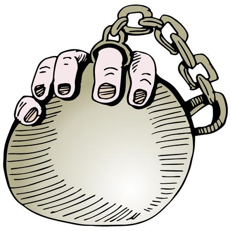 Een afbeelding van een trouwring bal en ketting.