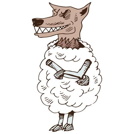 Een beeld van een wolf in overal schapen kleding.