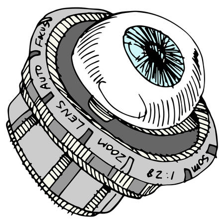 zooming: An image of an eye camera lens.