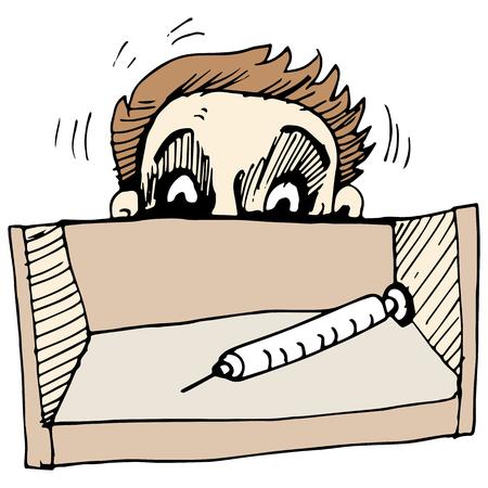 diabetico: Una imagen de un hombre temeroso de una jeringa de aguja.