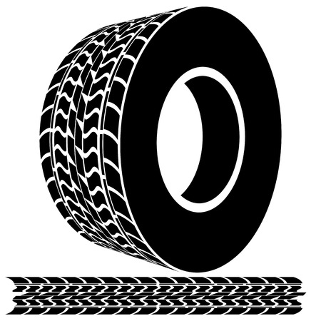 An image of a tire tread icon. Vector