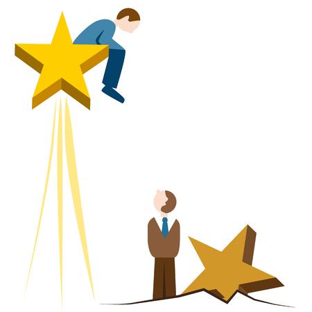 星の上上昇している男の画像。  イラスト・ベクター素材
