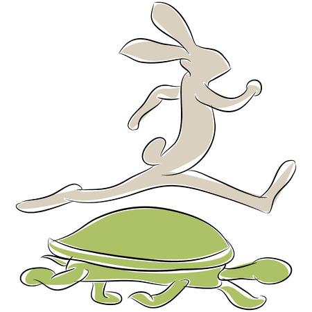 tortue de terre: Une image d'une tortue et le li�vre course. Illustration