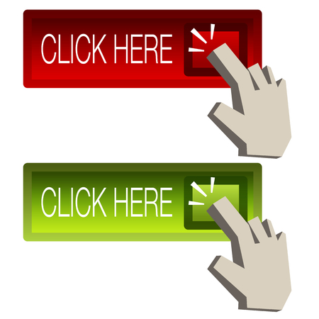 An image of a click here button. Vector