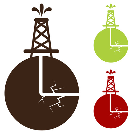 An image of a hydraulic fracturing icon. Vector
