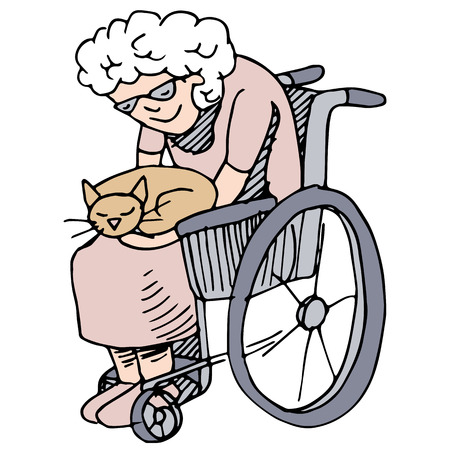old people: An image of a disabled woman holding her cat. Illustration