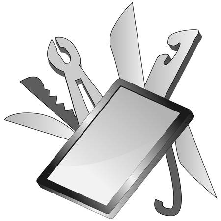 pocket knife: An image of a smartphone with many features.