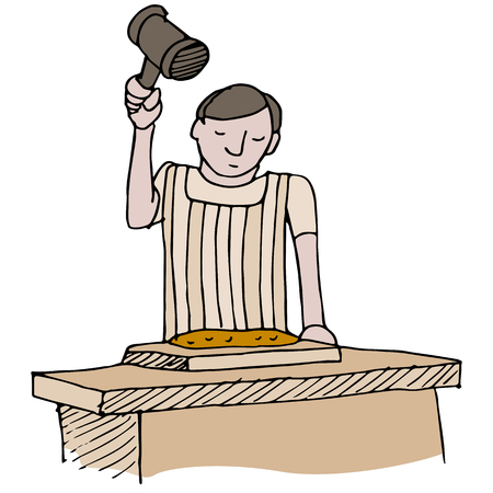 An image of a cook tenderizing meat with a mallet.
