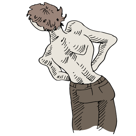 back problem: An image of a man with a crooked back problem.