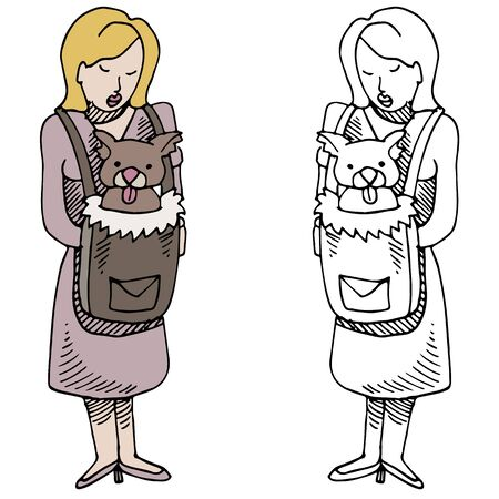 strapped: An image of a woman and her dog in a backpack pet carrier. Illustration