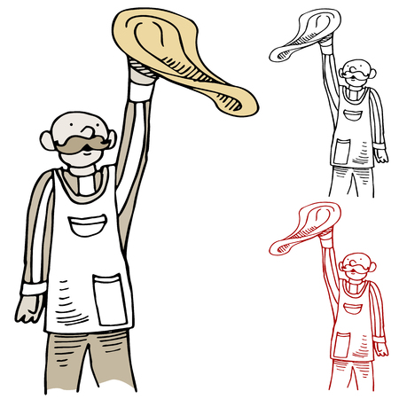 tosses: An image of a cook tossing pizza. Illustration