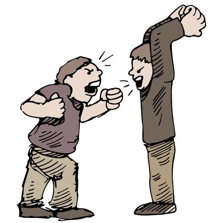 Een afbeelding van de kinderen vechten. Stock Illustratie