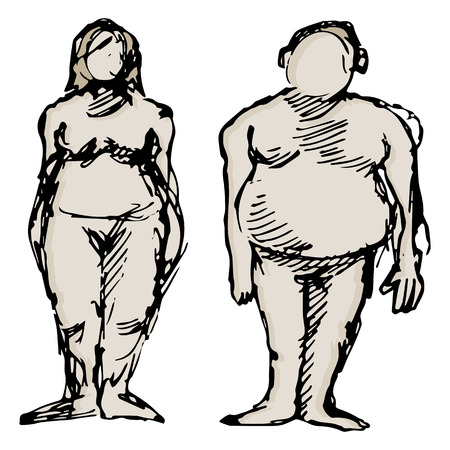 An image of an overweight man and woman. Vector