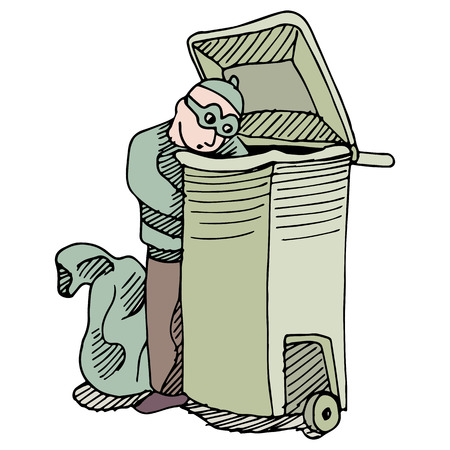 An image of a robber stealing from a trash can.