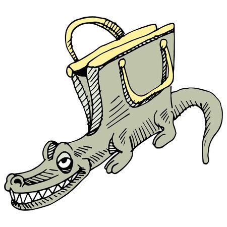 designer bag: An image of an alligator handbag.