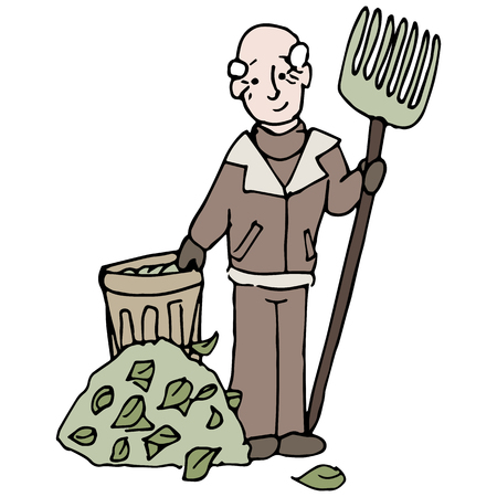 An image of a senior man raking a pile of leaves in winter. Stock Vector - 23492408