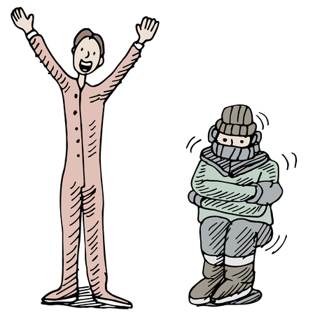 long johns: An image of a man kept warm wearing thermal undewear.