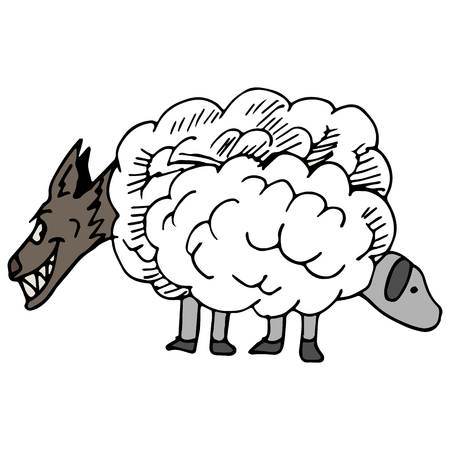 An image of a wolf in sheeps clothing. Vector