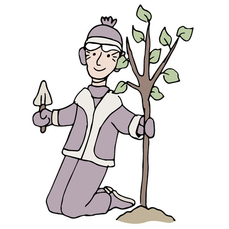 An image of a senior woman planting a tree in the winter.