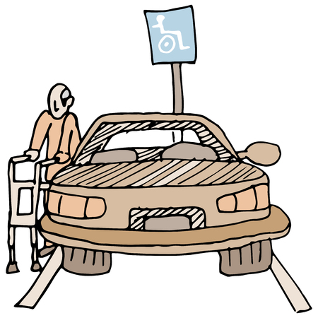 senior citizen: An image of a disabled man using a handicap parking space.