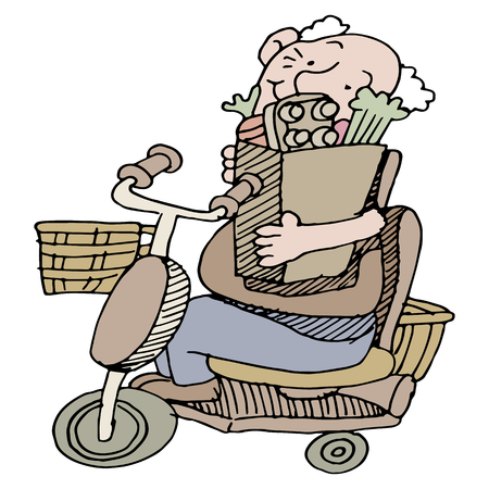citizens: An image of a senior man carrying groceries on his scooter. Illustration