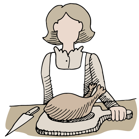 carve: An image of a woman getting ready to carve poultry.