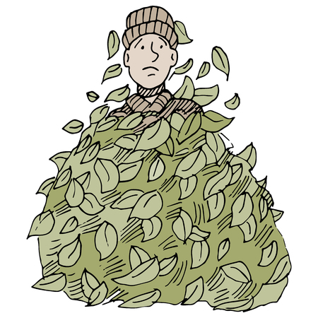 buried: An image of a man buried under a leaf pile.