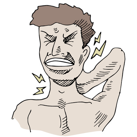 neck pain: An image of a man having neck pain. Illustration
