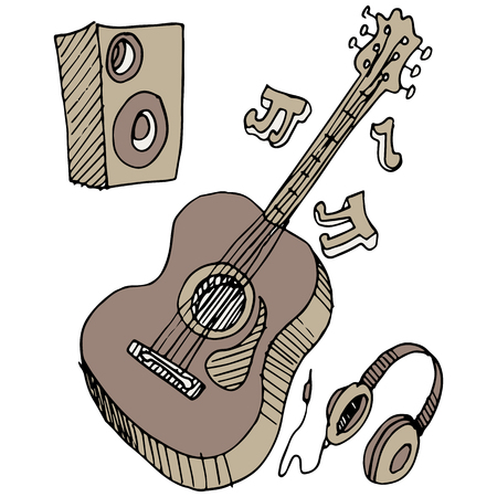 An image of a guitar, headphones, and speaker. Çizim