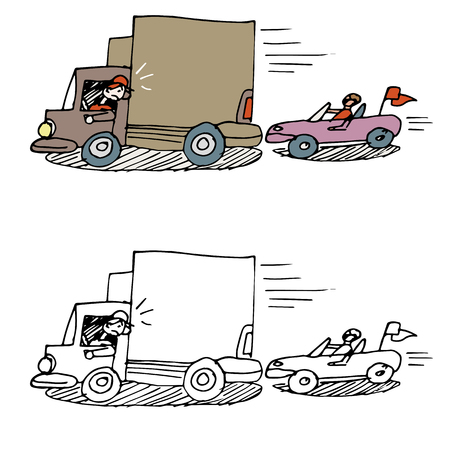 road rage: An image of a car tailgating a truck.