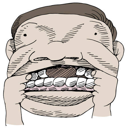 An image of a man showing a gap in his mouth.
